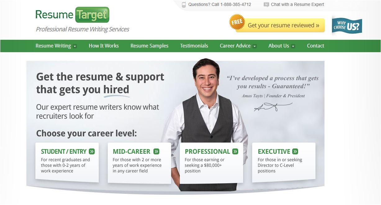 Best Sales Resume Services for 2020 - Screenshot of Resume Target Homepage