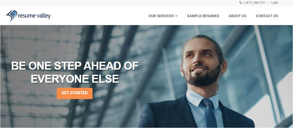 Best Sales Resume Services for 2020 - Screenshot of Resume Valley Homepage