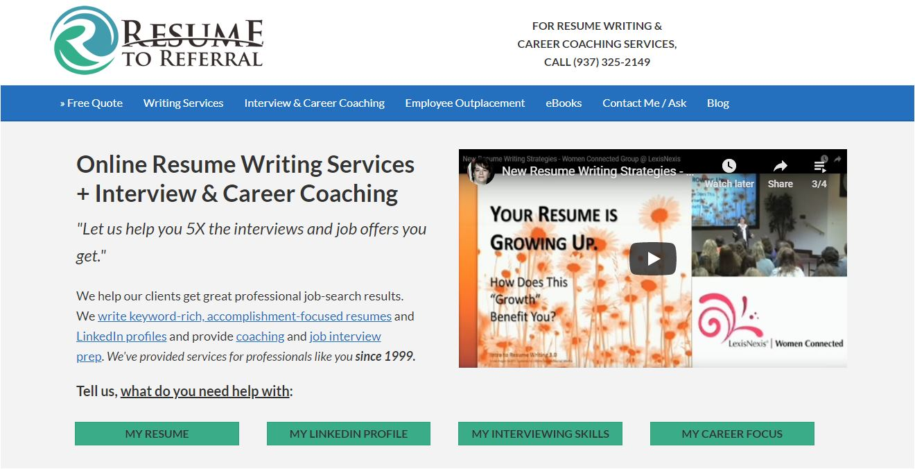 Best Sales Resume Services for 2020 - Screenshot of Resume to Referral Homepage