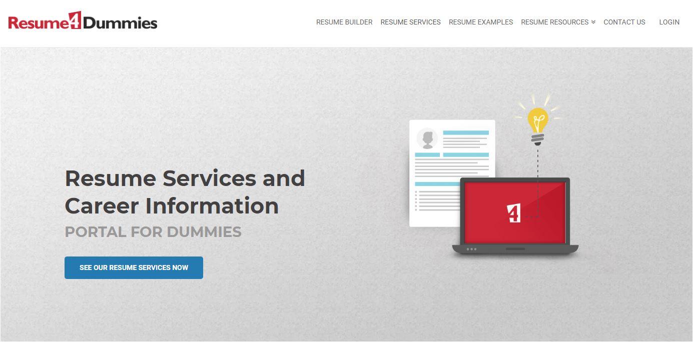 Best Sales Resume Services for 2020 - Screenshot of Resume4Dummies Homepage