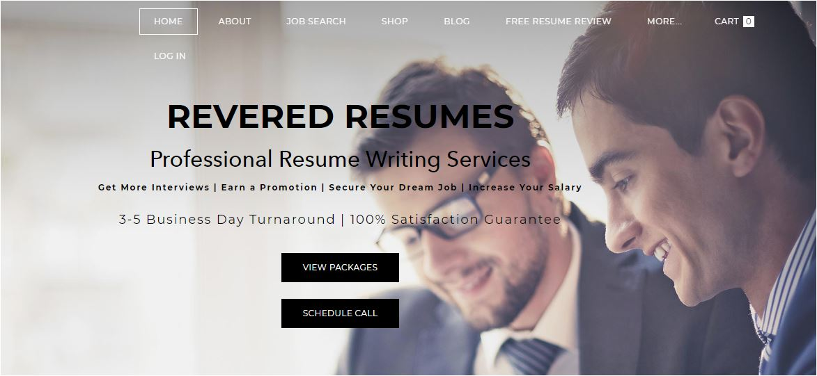 Best Sales Resume Services for 2020 - Screenshot of Revered Resumes Homepage