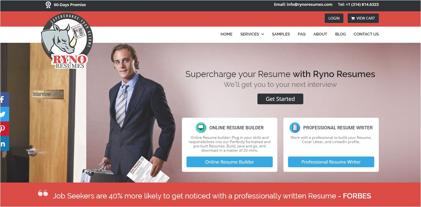 Best Sales Resume Services for 2020 - Screenshot of Ryno Resumes Homepage