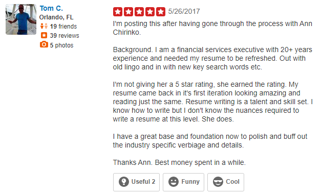 Screenshot of Yelp review of Capstone Resume Services for the best executive resume writing services