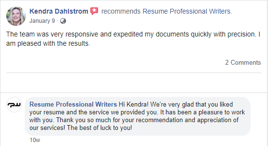 Screenshot of Facebook review of Resume Professional Writers for the best executive resume writing services