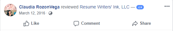 Screenshot of Facebook review of Resume Writer's Ink LLC for the best executive resume writing services