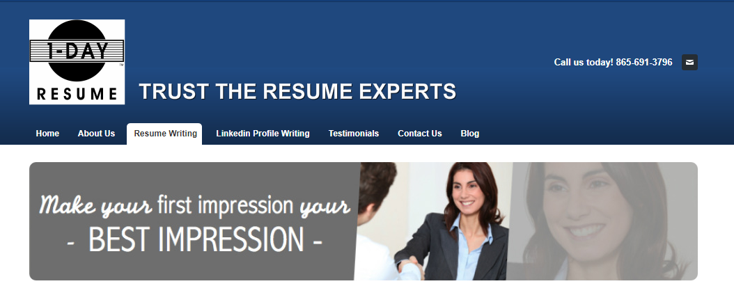 Screenshot of 1-Day Resume's banner with woman smiling handshaking man who availed the best medical resume writing services