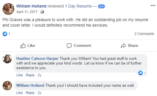 Screenshot of a client review of 1-Day Resume as one of the best medical resume writing services provider