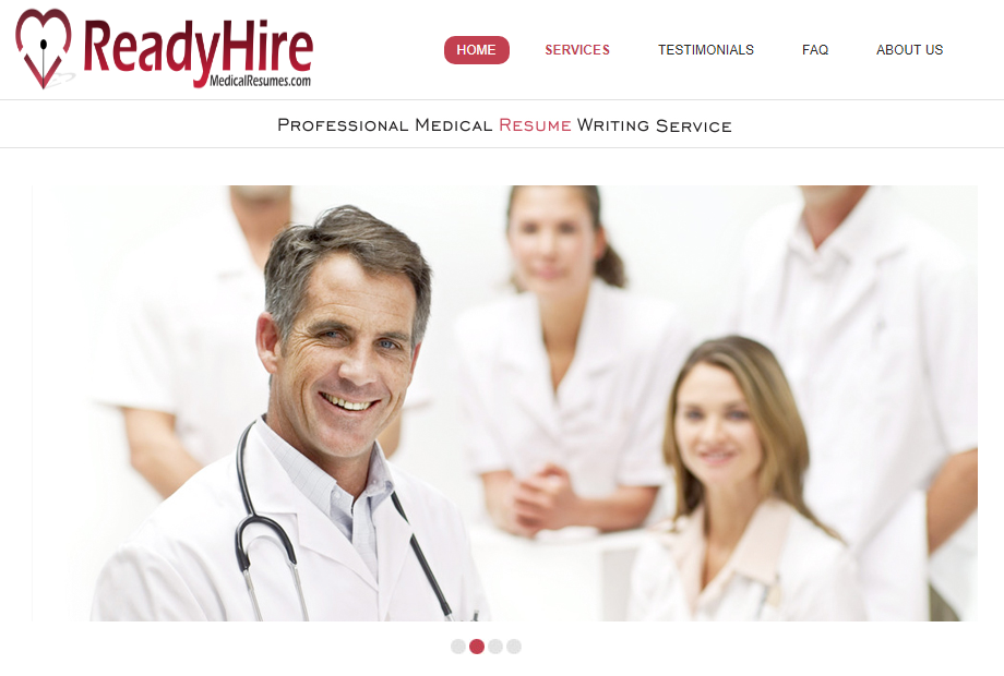 Screenshot of ReadyHireMedicalResumes' banner with a member of a medical team as one of the best medical resume writing services