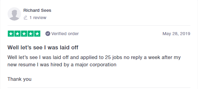 Screenshot of a client's review on trustpilot about the medical resume services of Resume4Dummies