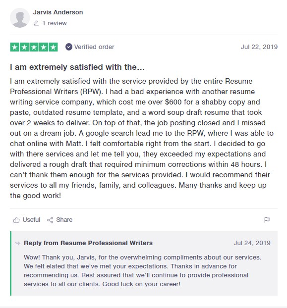 Screenshot of a client review of Resume Professional Writers as one of the 10 best medical resume writing services