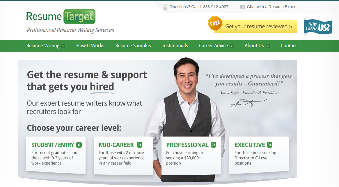 Screenshot of Resume Target's banner with a man smiling as it ranks as one of the best medical resume writing services