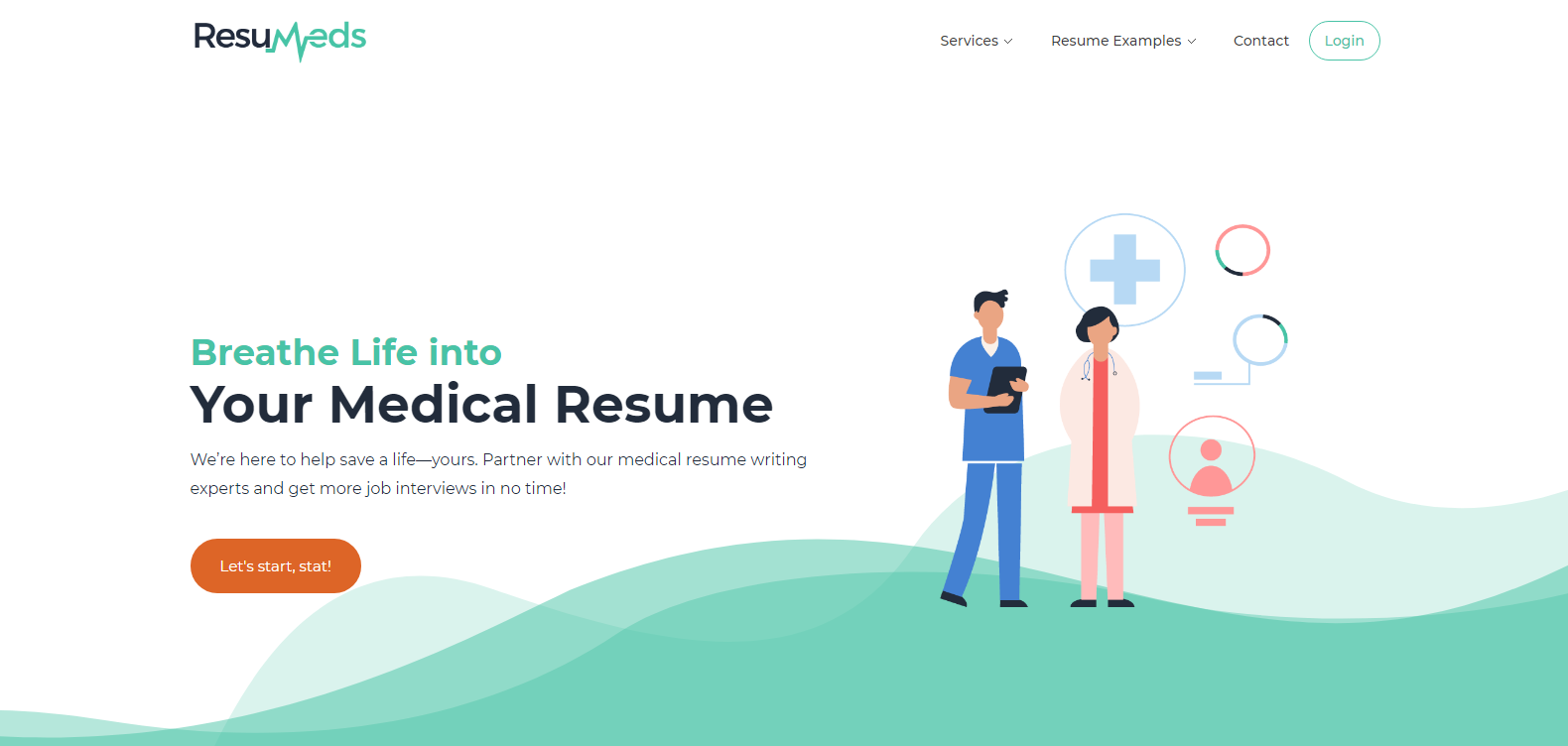 Screenshot of ResuMeds' banner with animated medical professionals looking for the 10 best medical resume writing services