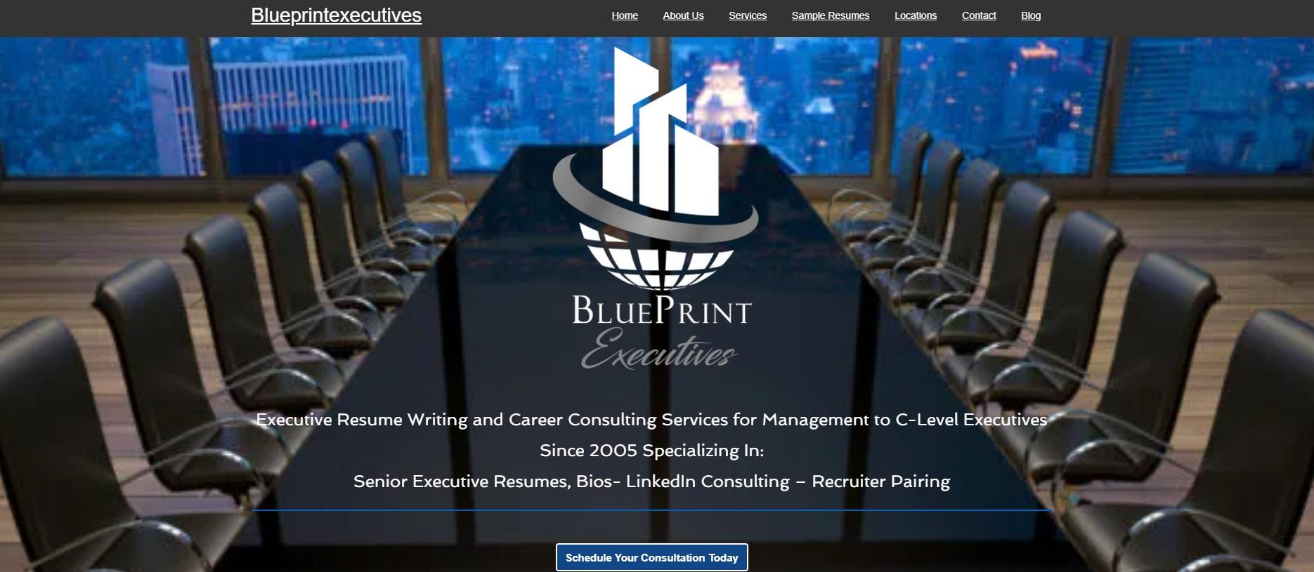 10 Best Resume Writers - screenshot of BluePrint Executives' homepage