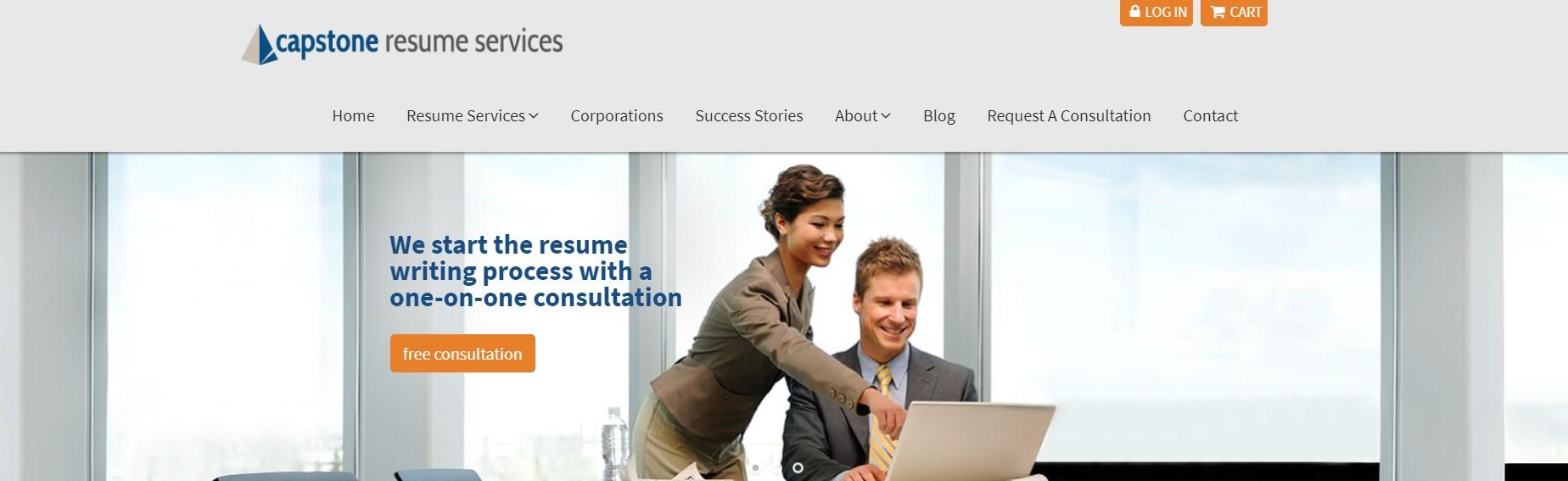 10 Best Resume Writers - screenshot of Capstone Resume Services' homepage