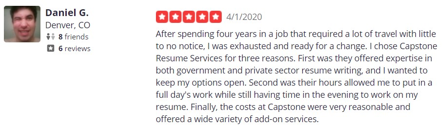 10 Best Resume Writers - screenshot of Capstone Resume Services' Yelp review