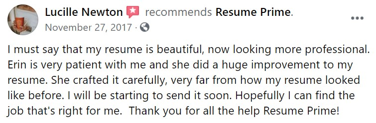 10 Best Resume Writers - screenshot of Resume Prime's facebook review