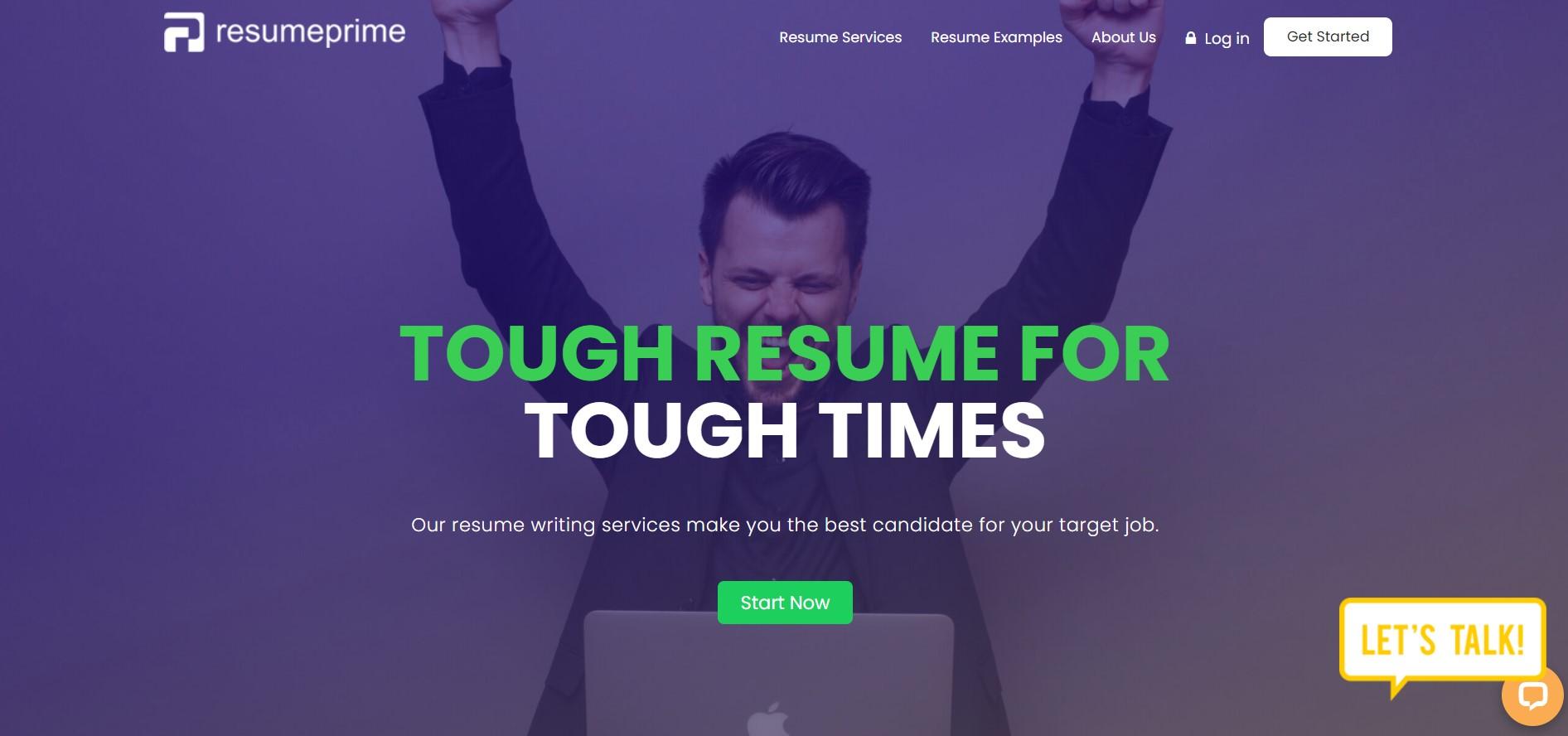 10 Best Resume Writers - screenshot of Resume Prime's homepage