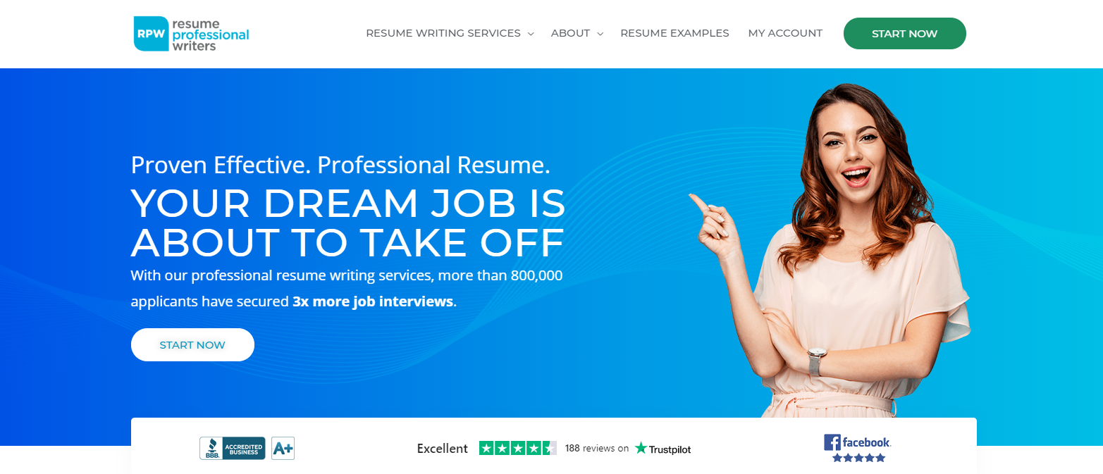 10 Best Resume Writers - screenshot of Resume Professional Writers' homepage